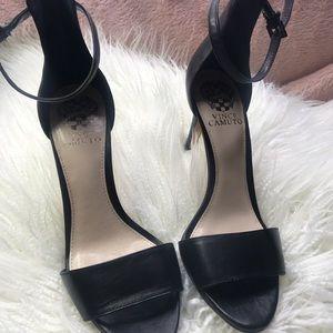 Vince Canute black leather open toe sandals Sz 7